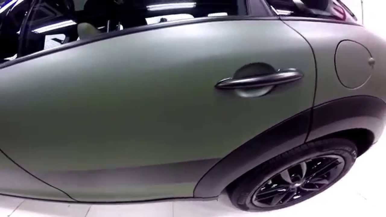 Mini Cooper Wrap >> Matte Military Green Mini Cooper S Countryman by Wrap Workz Hong Kong (GoPro Details) - YouTube