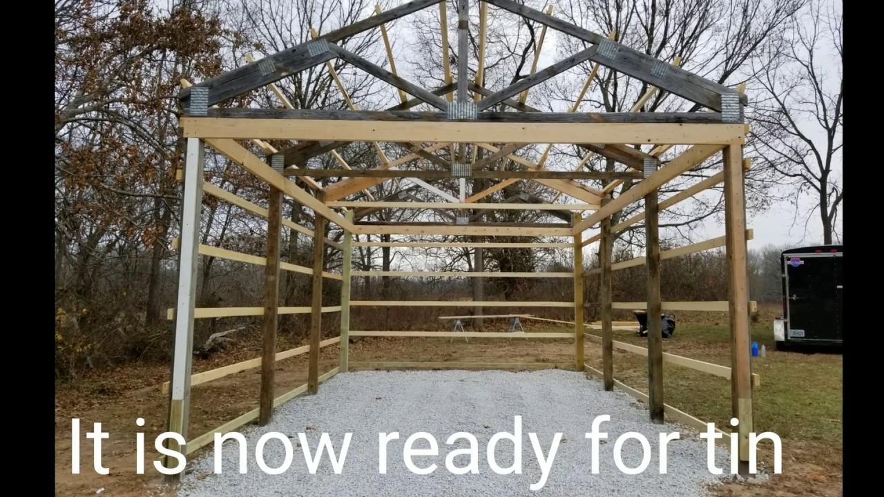 Diy 16 X 24 Pole Barn Youtube
