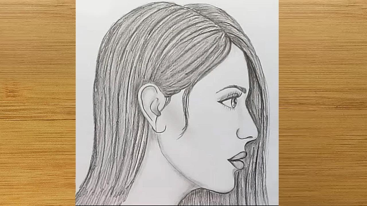 how to draw side face of female for beginners easy way to draw a face side view  [ 1280 x 720 Pixel ]