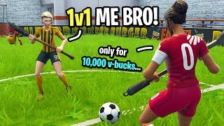 This kid challenged me to a 1v1 Fortnite soccer match for 10,000 VBUCKS... (I ACCEPTED!)