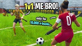 Ce gamin m'a défié à un match de football 1v1 Fortnite pour 10.000 VBUCKS ... (J'AI ACCEPTÉ!)