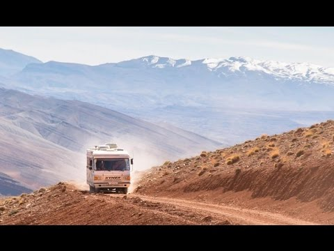 Two classic Hymers cross the R704 over the High Atlas in Morocco - March 2017