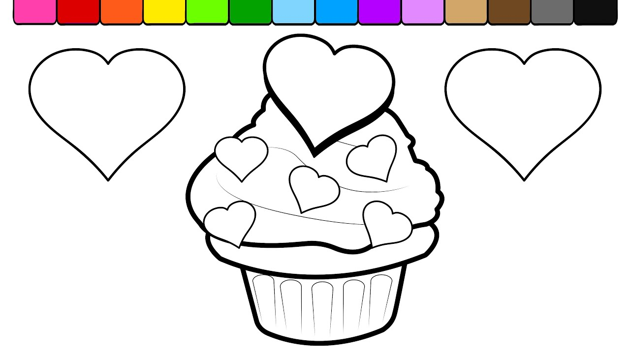 Learn Colors For Kids And Color Hearts + Cup Cake + More