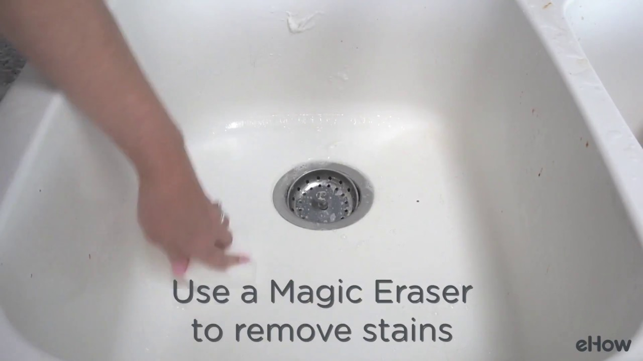 how to clean a white sink and remove stains too