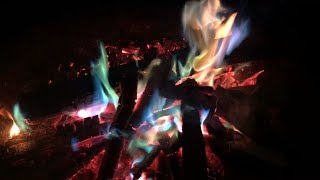 Blue Green Yellow Red Fire & Crackling Woods - It