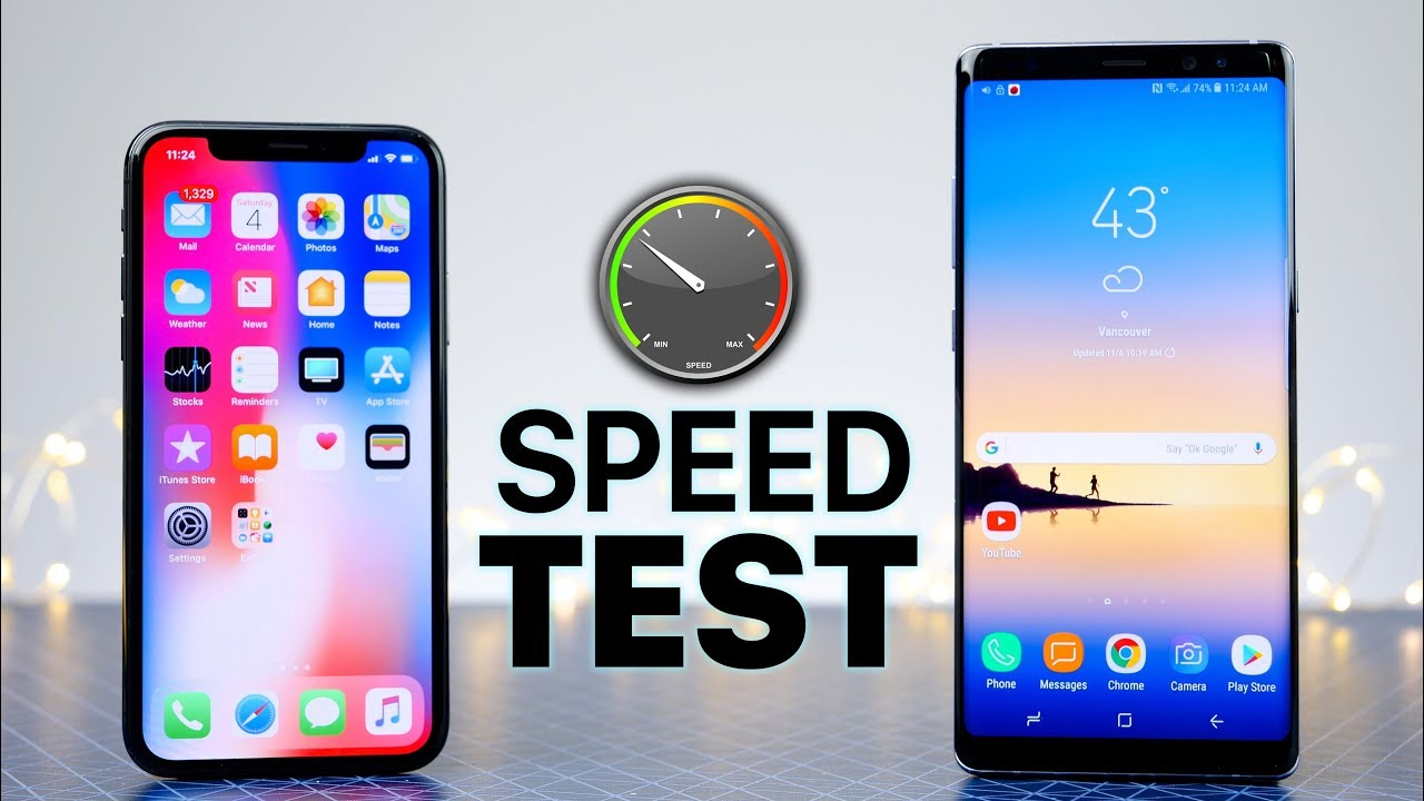 Iphone X Vs Samsung Galaxy Note 8 Speed Test Youtube
