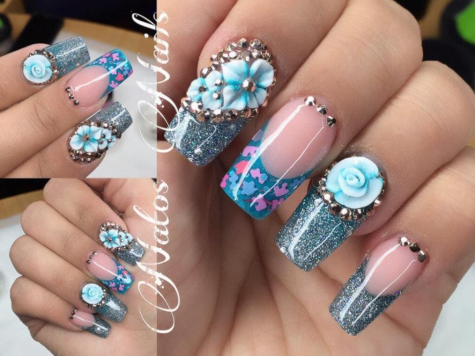 Uñas Acrilicas Diseño En Azul Natos Nails