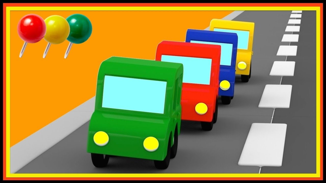 4 voitures color es pour apprendre les r gles de circulation youtube. Black Bedroom Furniture Sets. Home Design Ideas