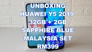 Unboxing Huawei Y5 2019 Sapphire Blue 32GB Malaysia Set Rm399