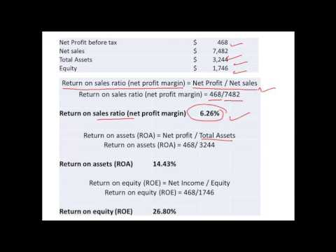 Return on sales, Return on assets and Return on Equity - Ratio Computation