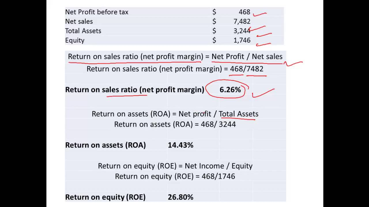 return on sales  return on assets and return on equity