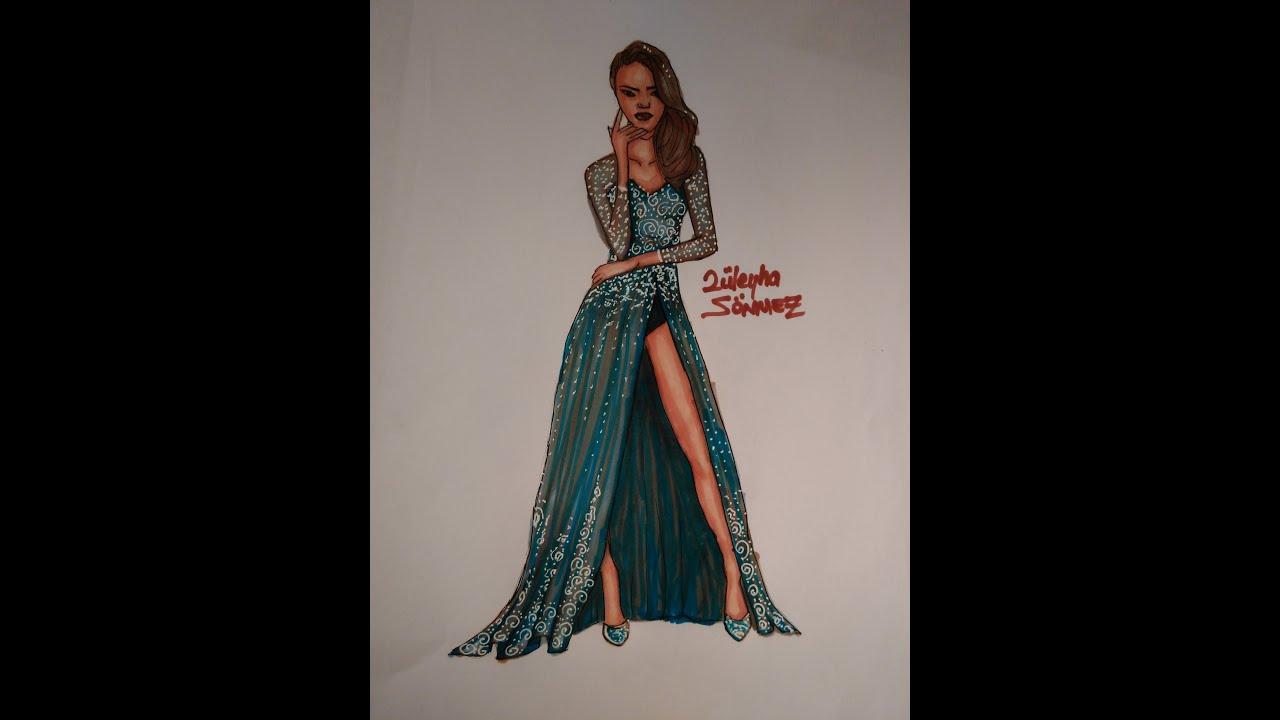 Kolay Kıyafet Çizimleri Abiye 2