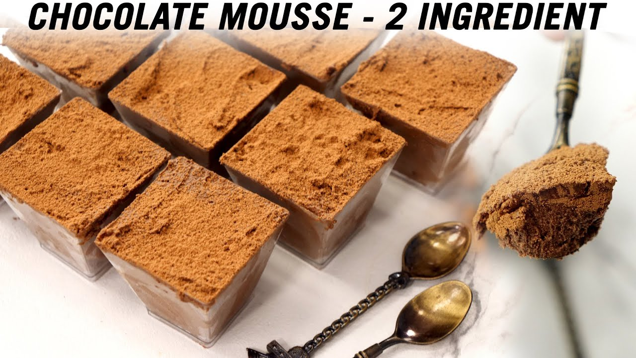 Chocolate Mousse Recipe - 2 Ingredient - 15 Minute Quick Dessert - CookingShooking
