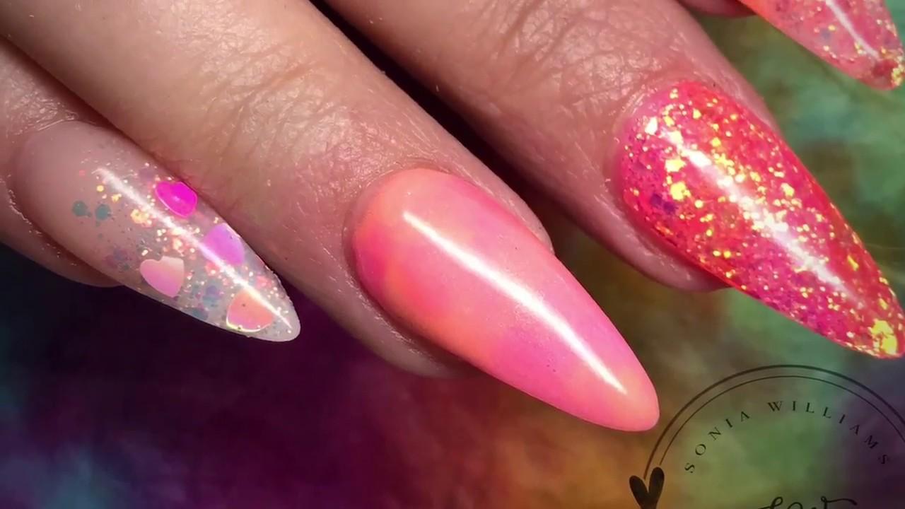 Pink Coral Acrylic Nails Summer Nails Glitter Nails Not Polish Youtube