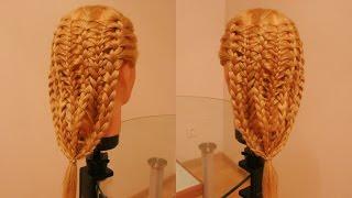 Коса в технике трёх кос. Видео-урок