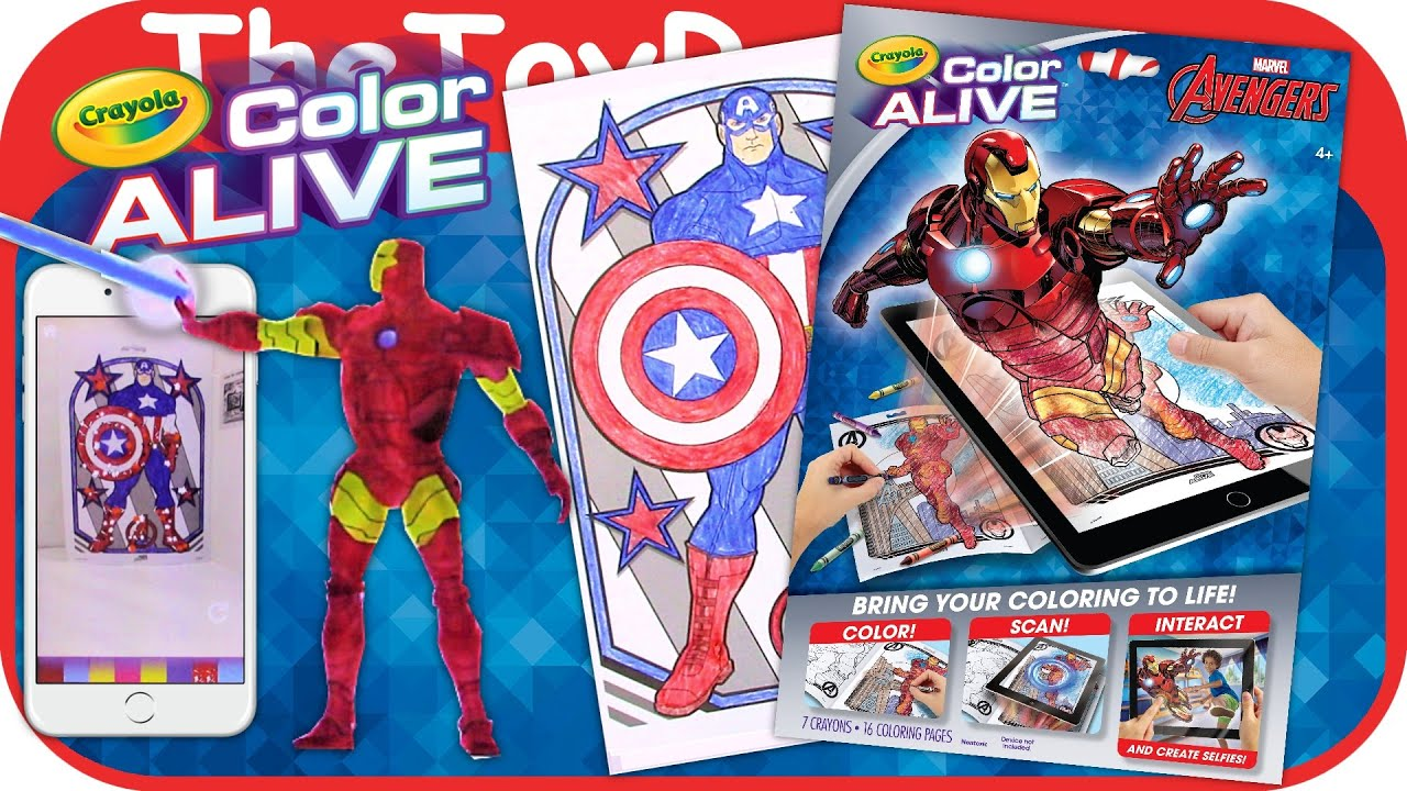 Marvel Avengers Crayola Color Alive Action Coloring Pages Unboxing Toy Review By TheToyReviewer
