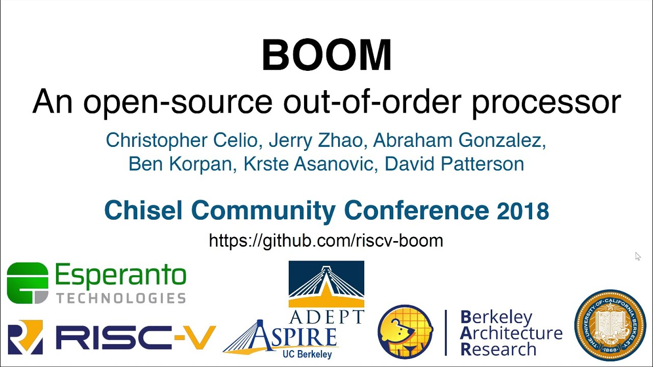 BOOM Intensive (Architecture Track) - Chisel Community Conference 2018