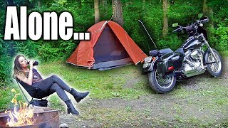 Solo Motorcycle Camping. Alone with my Harley Davidson