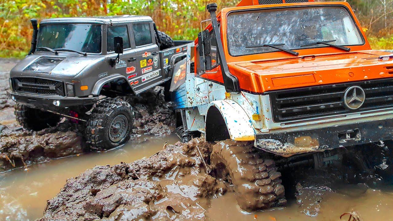 RC Cars Stuck in MUD – Unimog 6x6 VS Unimog 4x4 – Axial 6x6 VS Traxxas TRX4 – Wilimovich