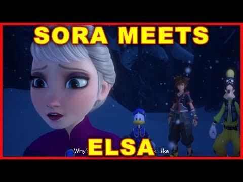 Sora Meets Elsa Cutscene (FROZEN KINGDOM HEARTS 3)