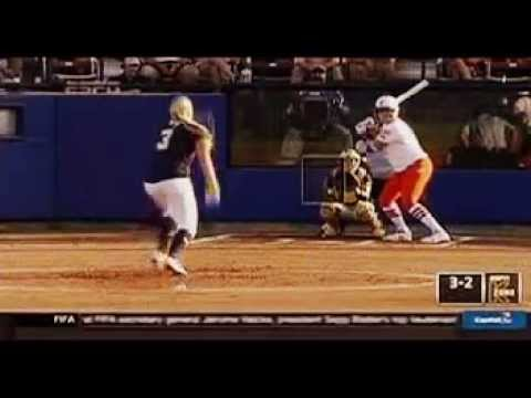Lauren Haeger hits A 2 run HR for Florida Gators vs Michigan Wolverines in Game 1 of 2015 WCWS Final