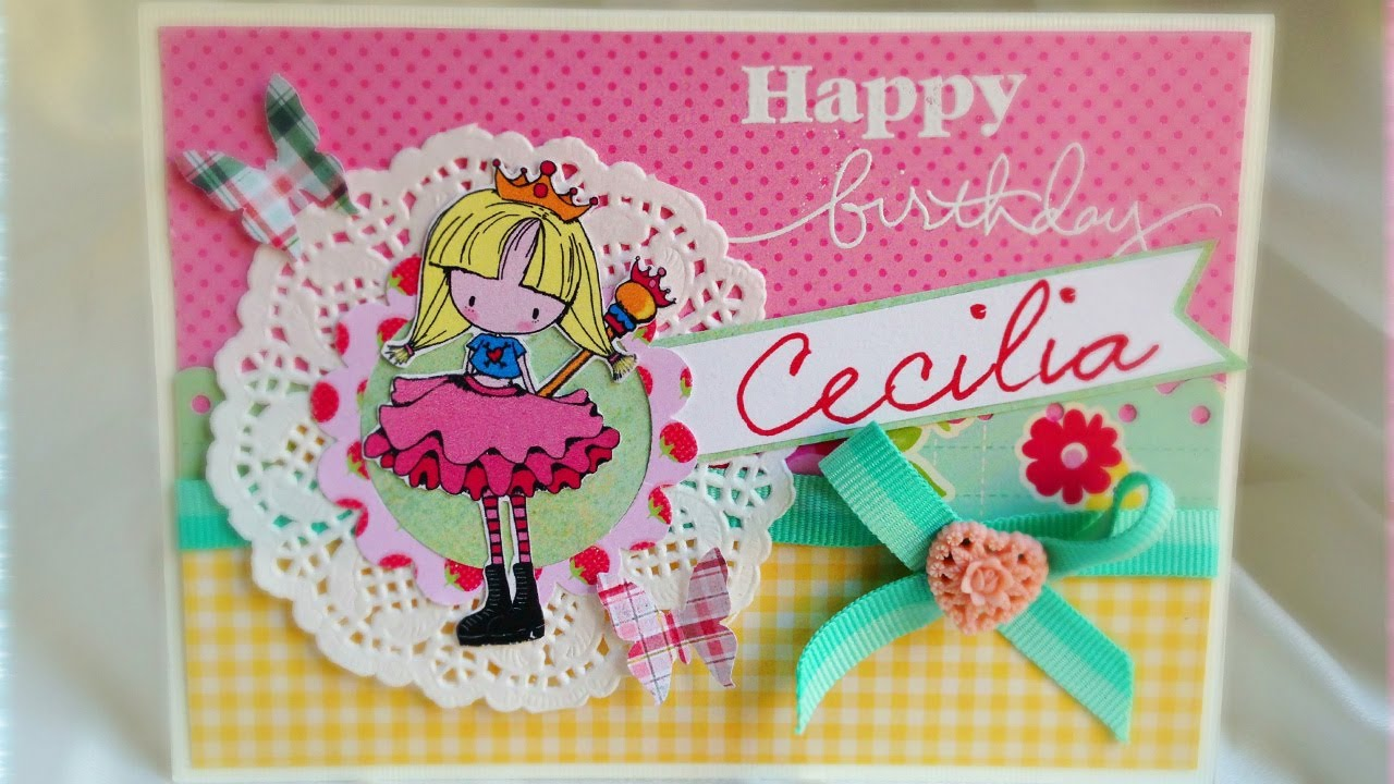 DIY baby girl birthday card YouTube – Birthday Cards Girls