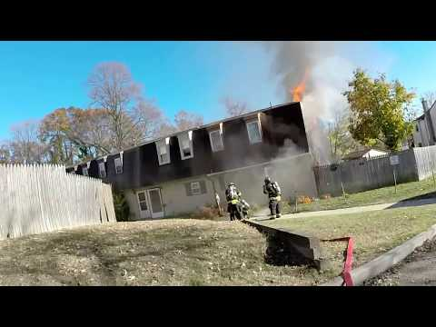 Squad 75 (Runnemede) mutual aid to Glo Twp heavy fire showing upon arrival. With collapse.