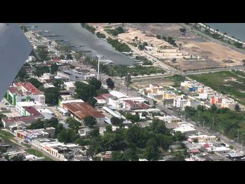 Landing in Campeche Mexico . Campeche from sky