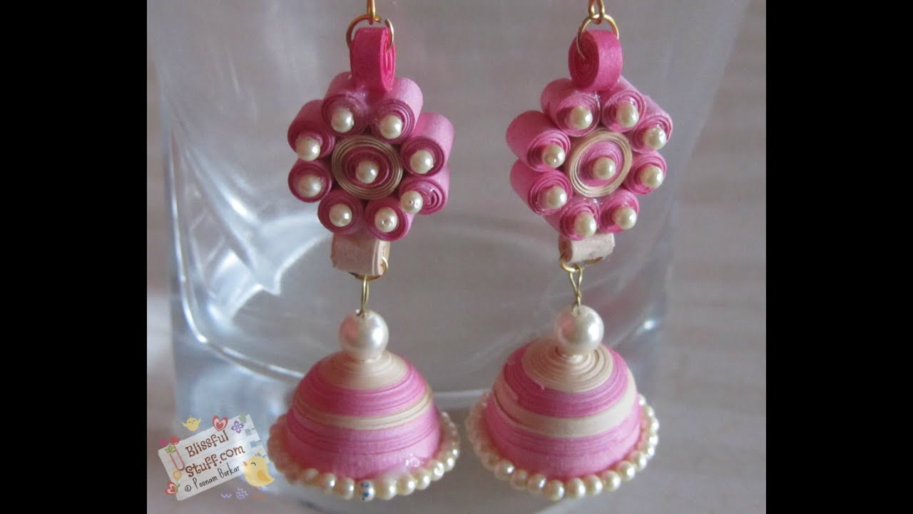 Papercraft DIY- How to make Paper Quilled Jhumka, paper quilling earring tutorial