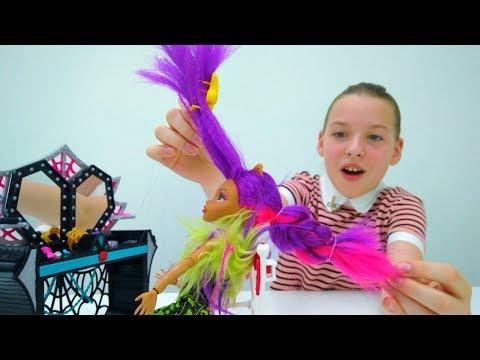 #МонстерХай мультик: ВЕЧЕРИНКА 🎵 игры Одевалки #КуклаХай  👗 прическа и макияж в видео для девочек