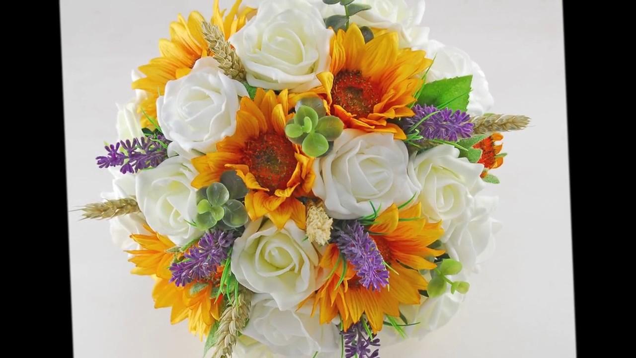 Sunflower Wheat Lavender Ivory Rose Bridal Wedding Bouquet Youtube