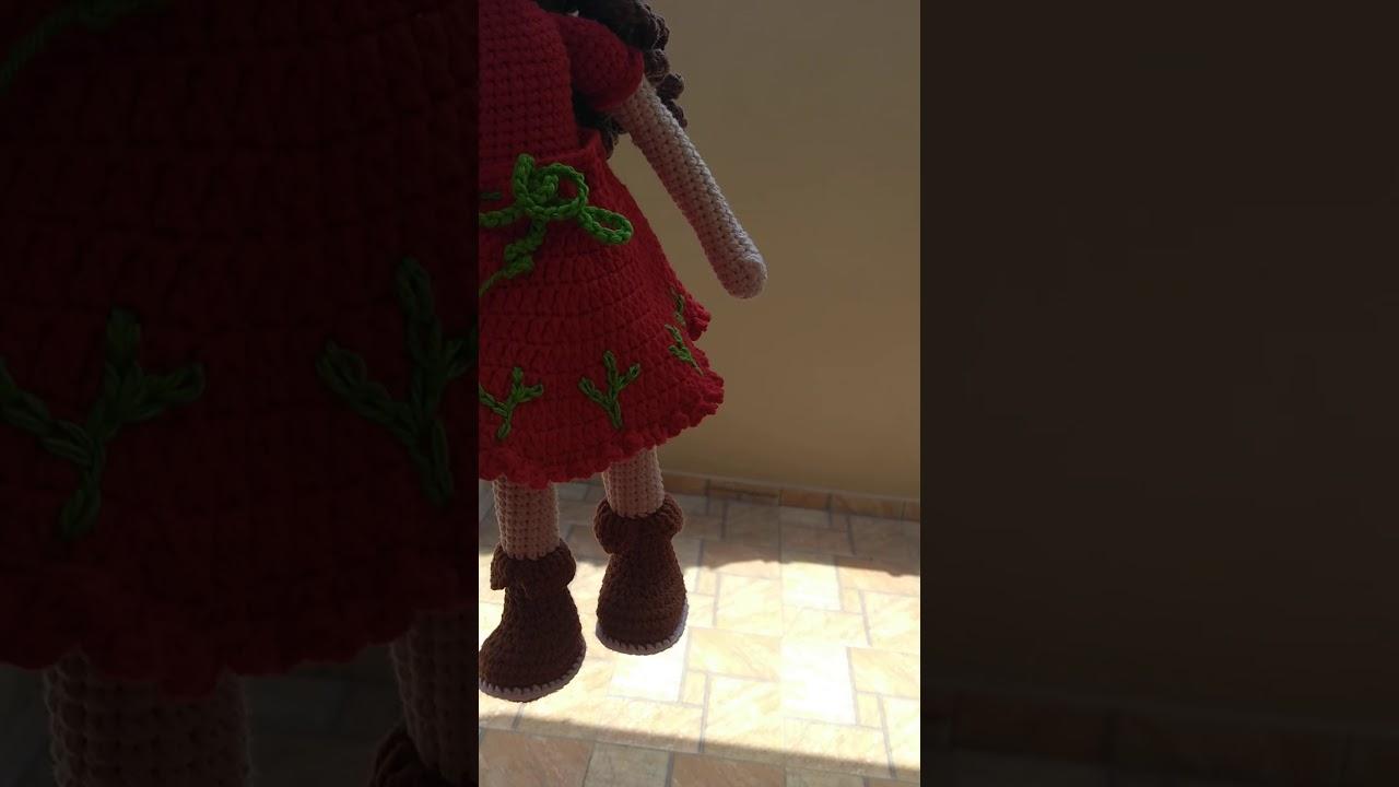 Vestido de Boneca Padão G em Crochê passo a passo Prof. Simone ... | 720x1280