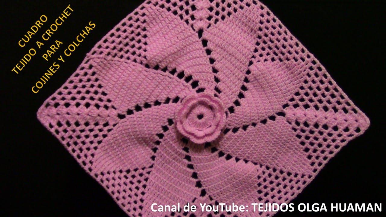Cuadrado a crochet flor espiral para colchas, mantitas de bebe y ...