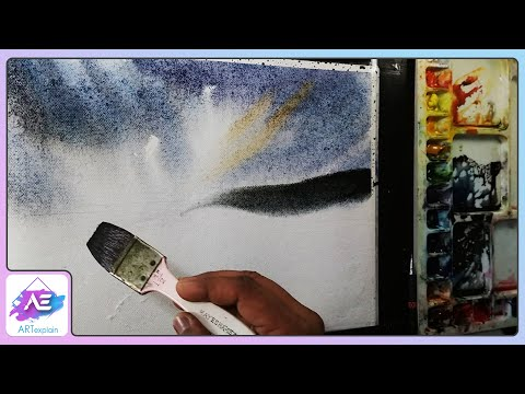 Black landscape watercolor painting tutorial by Art Explain