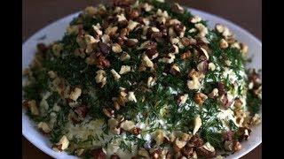 Праздничный салат с мясом и грибами. Сытный и вкусный (Домашний кулинар)