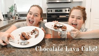 WE TRIED MAKING CHOCOLATE LAVA CAKE! | Herrin Twins