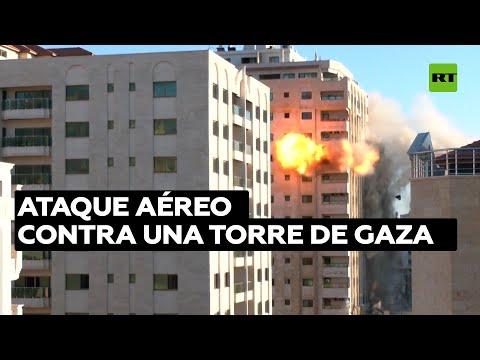 La Torre El Cairo de Gaza es alcanzada por ataques aéreos israelíes