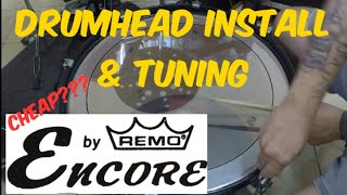 Remo Encore PS drum head install and tuning (bass drum) with sound test.
