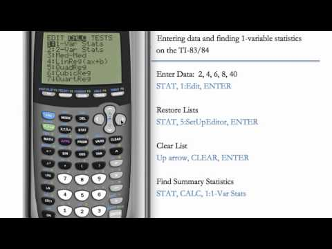Entering Data And 1-Variable Statistics (TI-84 & TI-83)
