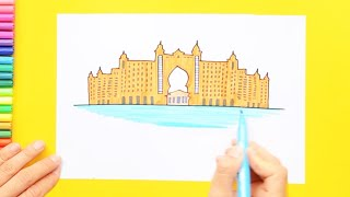 How to draw and color the Atlantis Hotel, Dubai