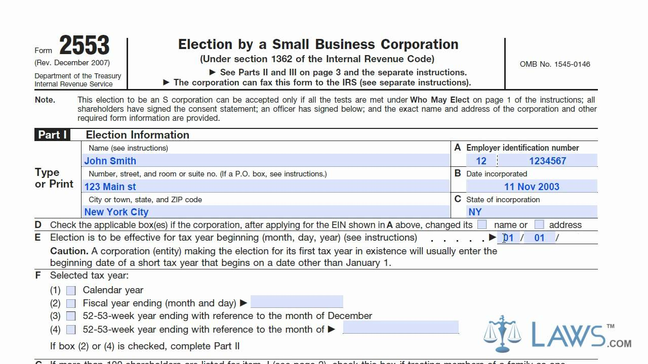 Learn how to fill the form 2553 election by a small business learn how to fill the form 2553 election by a small business corporation youtube falaconquin