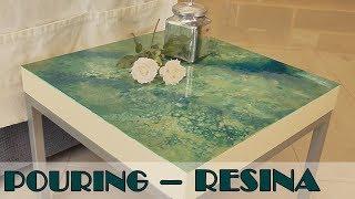 Como decorar una mesita con la técnica del pouring. Mesa reciclada con Resina Epoxi