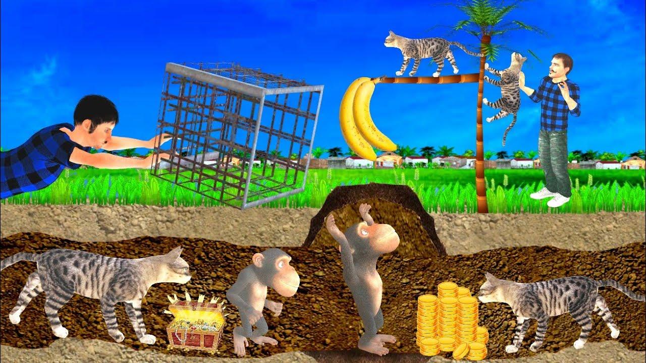 नया साल बन्दर जाल Kahani 3D Hindi Kahaniya New Year Monkey Cat Cage Bed Time Stories हिंदी कहानिया
