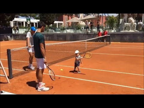 Novak Djokovic - Playing Tennis with His Son Stefan Rome 2017