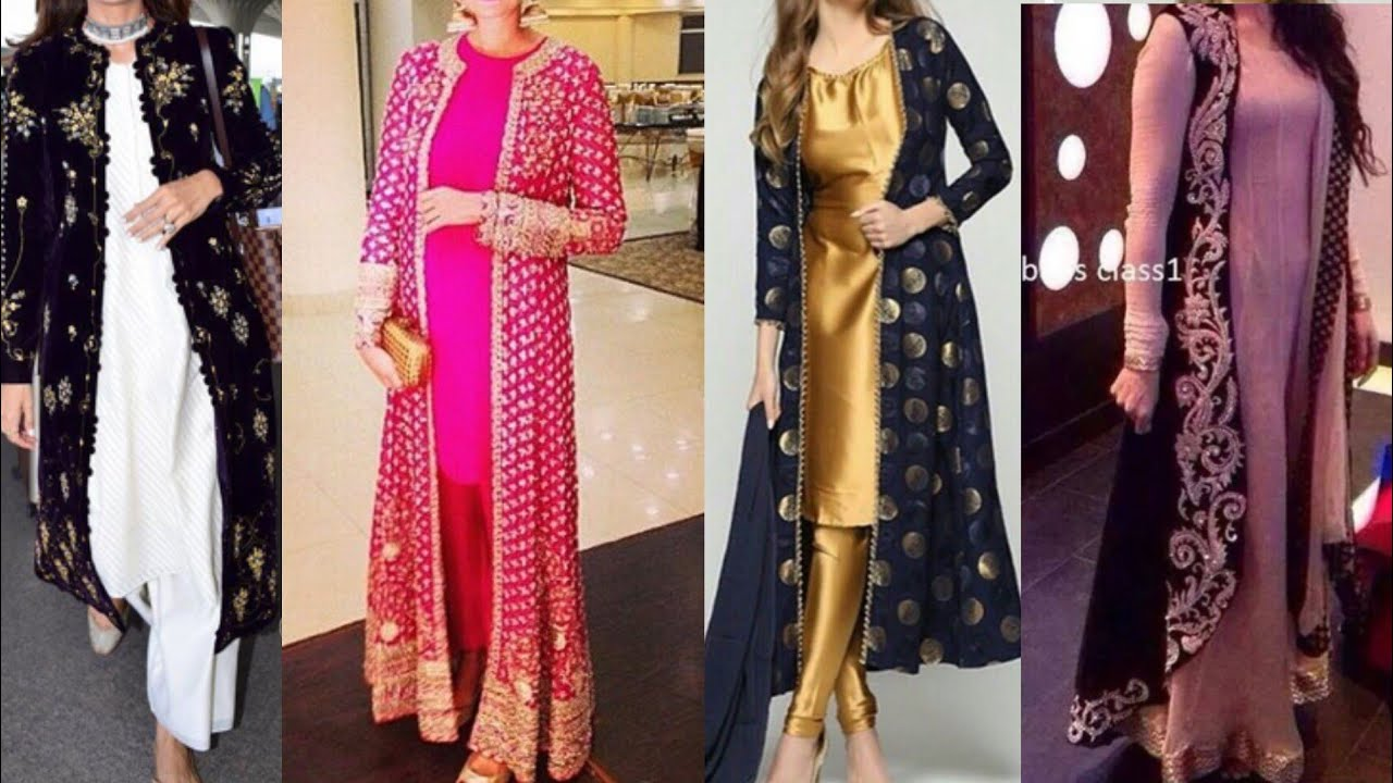 latest fashion search for best huge sale beautiful party wear long shrug design ideas for kurta/kurta shrug with  embroidery design