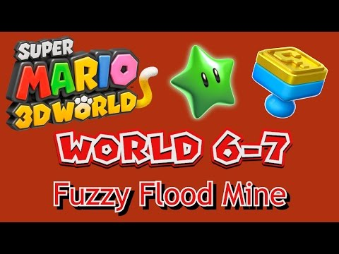 Super Mario 3D World - World 6-7: Fuzzy Flood Mine (all collectables)