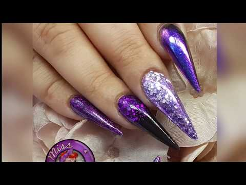 Purple & Black Salon Stilleto Acrylic Nails