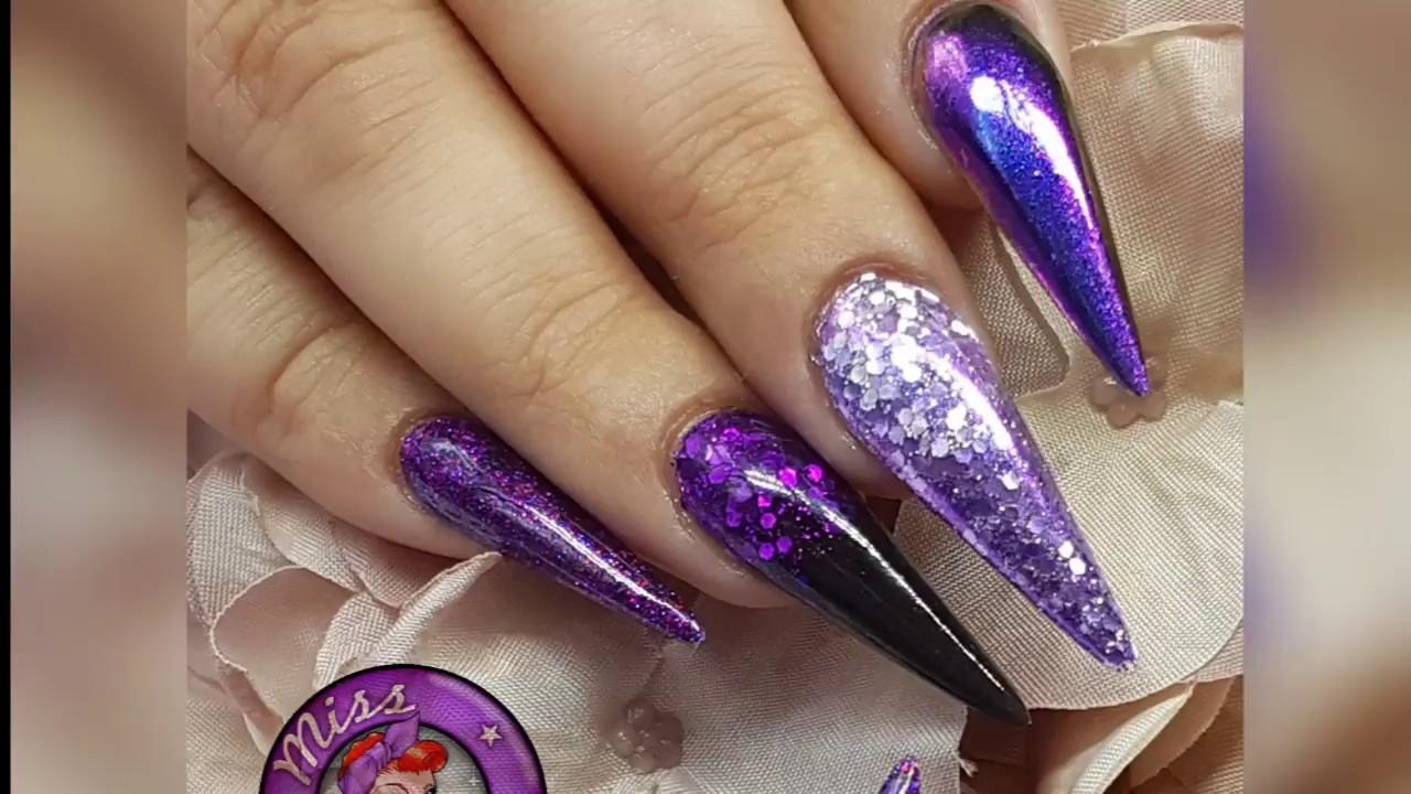Purple Amp Black Salon Stilleto Acrylic Nails Youtube