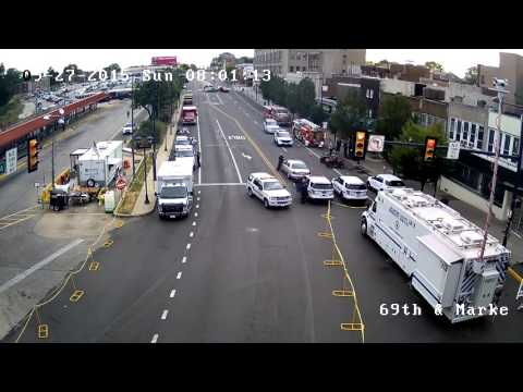 Time Lapse of Upper Darby 69th & Market Streets in Prep of the Pope