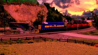 HO Allegheny and West Virginia Railroad at Sunset